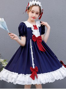 Snow White Children Classic Lolita Red Bowknot Navy Blue Short Sleeve Dress