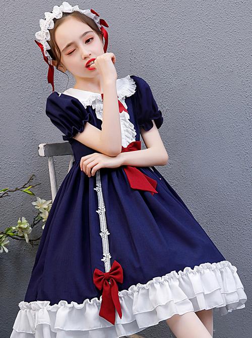 Snow White Children Classic Lolita Red Bowknot Navy Blue Short Sleeve Dress