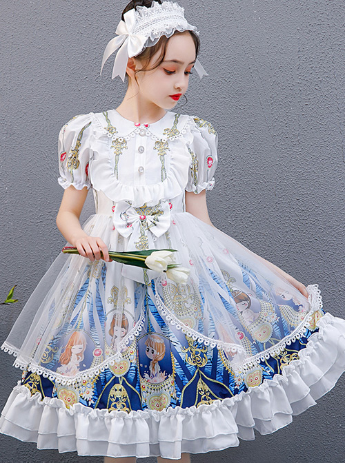 Doll Collar Cartoon Printing Sweet Lolita White Short Sleeve Dress