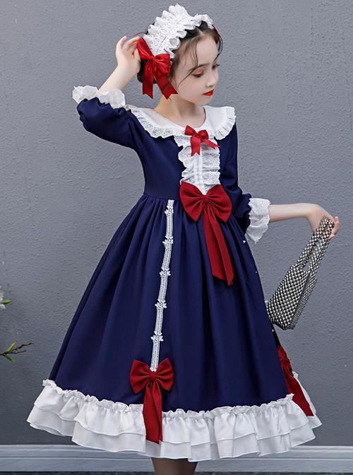 Red Bowknot Classic Lolita Navy Blue Long Sleeve Dress
