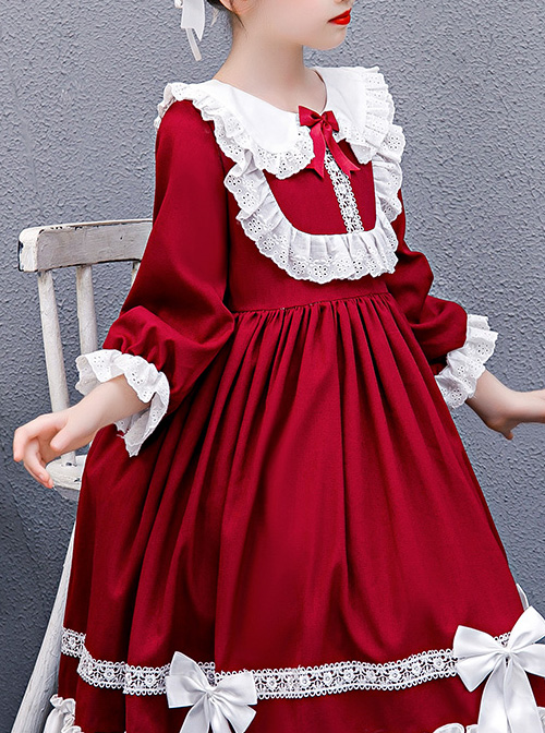 Doll Collar White Lace Wine Red Classic Lolita Long Sleeve Dress