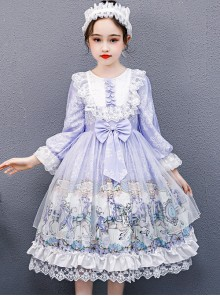 Purple Merry-go-round Printing White Lace Sweet Lolita Long Sleeve Dress