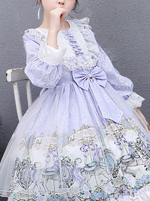 Purple Merry-go-round Printing White Lace Sweet Lolita Long Sleeve Dress