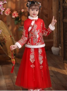 White Plush Collar Red Chinese Style Warm Dress Children Long Hanfu