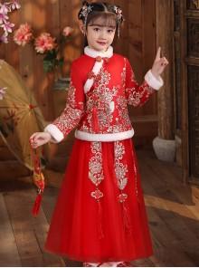 White Plush Collar Red Chinese Style Warm Dress Children Long Hanfu
