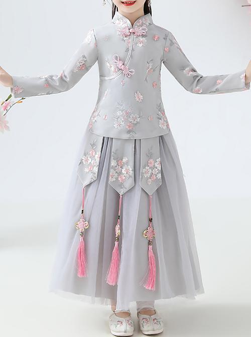 Children Elegant Flower Embroidery Gray Long Sleeve Chinese Style Long Dress