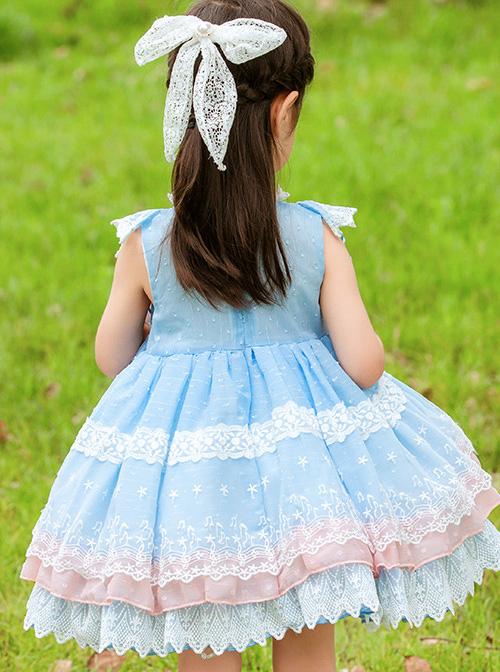 White Lace Pink Bowknot Light Blue Kids Sweet Lolita Sleeveless Dress