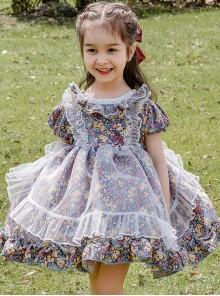 Cute Small Floral Printing Ruffle Kids Sweet Lolita Short Sleeve Dress