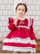 White Lace Red Velour Embroidery Kids Classic Lolita Long Sleeve Dress