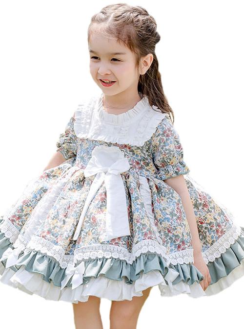 Green Small Floral Printing White Bowknot Kids Classic Lolita Short Sleeve Dress