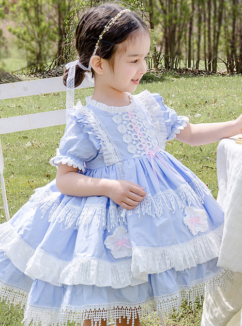 White Lace Tassel Hem Kids Sweet Lolita Blue Short Sleeve Dress