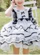 White Musical Note Lace Black Bowknot Children Sweet Lolita Doll Collar Short Sleeve Dress