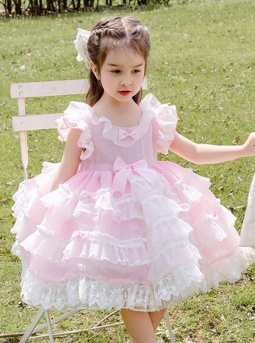 White Lace Pink Pure Color Children Sweet Lolita Sleeveless Cake Dress