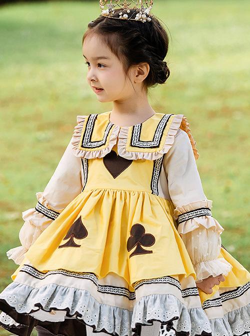Poker Cards Pattern Yellow Plus Velvet Children Sweet Lolita Long Sleeve Dress
