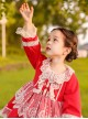 White Lace Red Pure Color Children Sweet Lolita Long Sleeve Dress