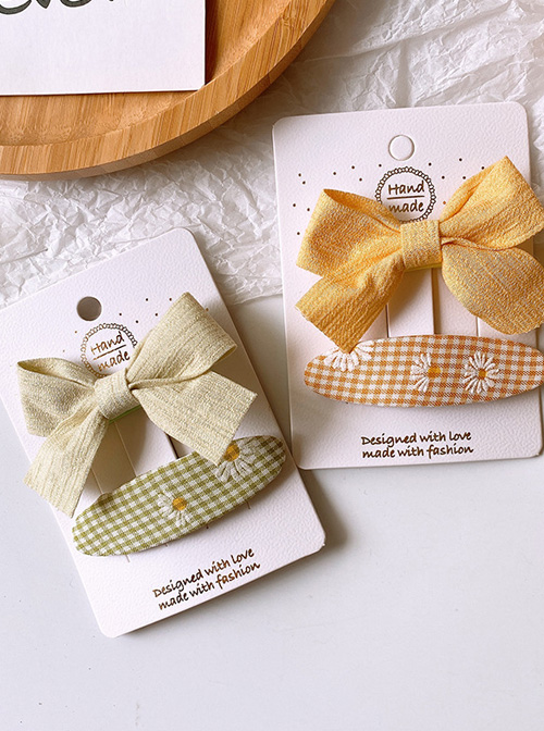 Children Cute Pure Color Fabric Bowknot Little Daisy Hairpins