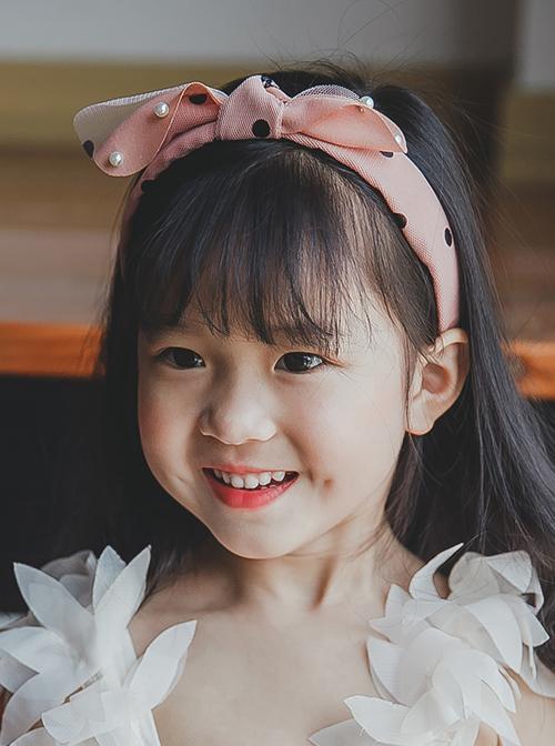 Pink Bowknot Beaded Embellishment Children Non-slip Hairband