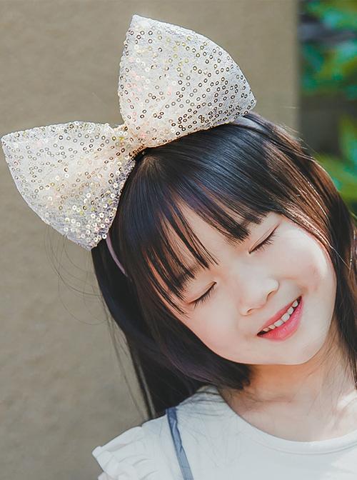 Golden Sequins Big Bowknot Children Hairband