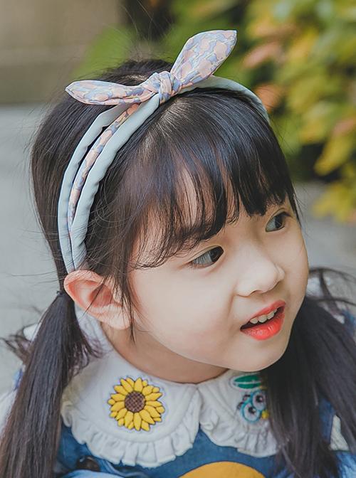 Small Floral Printing Rabbit Ears Children Non-slip Hairband