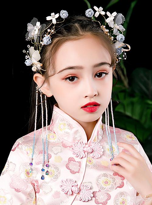 Children Chinese Style Hanfu Tassels Flower Butterfly Hairband And Wrist Flower Set