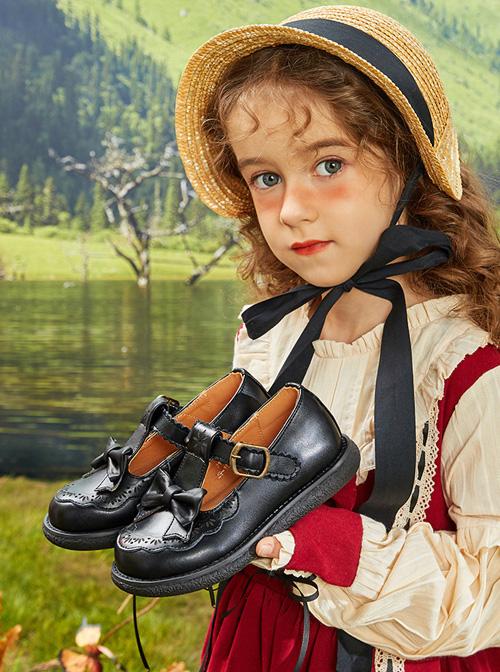 Bowknot Princess PU Leather Shoes Children Sweet Lolita Shoes