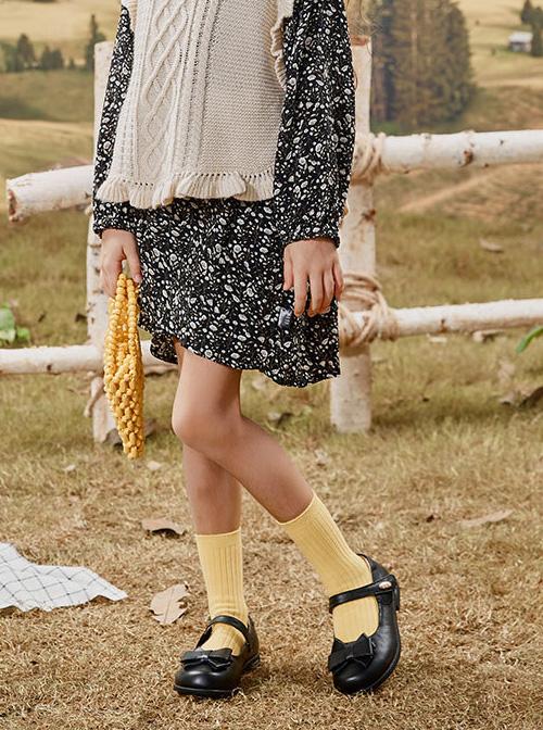 Simplicity Pure Color Bowknot Children Classic Lolita Shoes