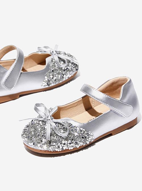 Rhinestone Vamp Bowknot Children Velcro Princess Shoes