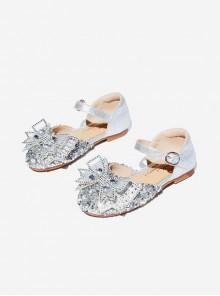 Sweet Mesh Bowknot Rhinestone Vamp Children Princess Flat shoes