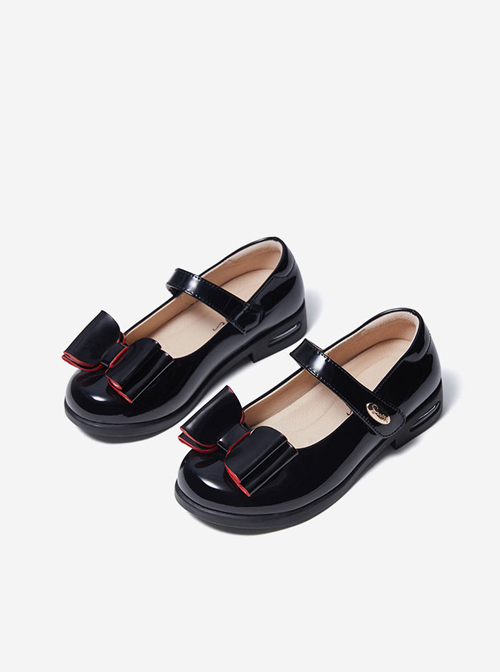 Simplicity Pure Color Patent Leather Bowknot Children Sweet Lolita Shoes
