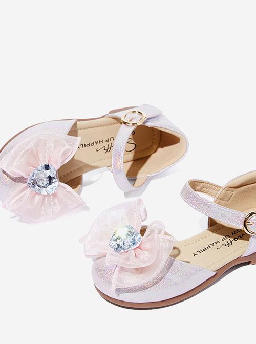 Tulle Bowknot Heart Shaped Rhinestone Children Sweet Lolita Flat Shoes