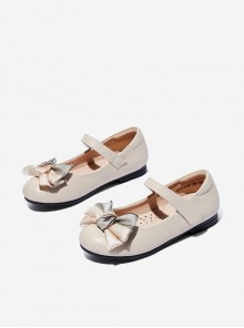 Bowknot Pure Color Small Leather Shoes Children Classic Lolita Shoes