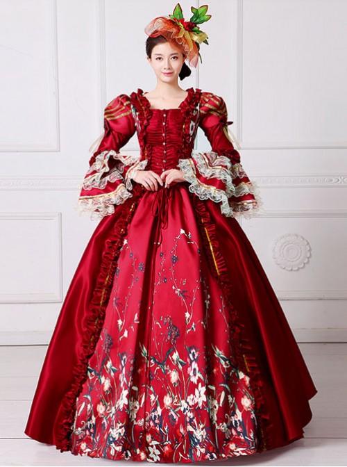 Gules Queen Of England European Retro Court Dress