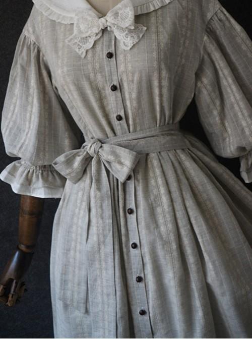 The Grey Sailor Collar Petals Pure Cotton Dress