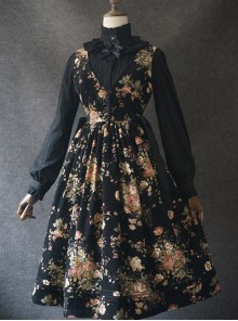 Elegant Black Flowers V Collar Lolita Vest Dress