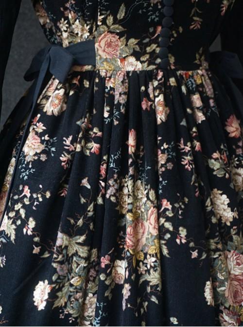 Elegant Black Flowers V Collar Lolita Vest Dress