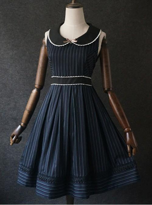 Retro Color Striped Waist Cotton Vest Skirt