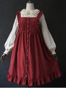 Dark Red Fungus Lace Corduroy Skirt Sweet Lolita Dress