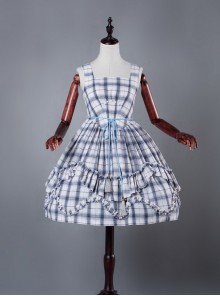 Blue Grid High Waist Lolita Dress