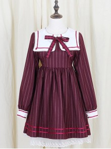 Wine Red Stripe Girls Series School Uniform Style School Lolita Skirt