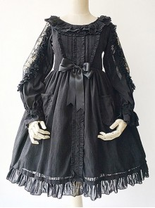 Black Lace Jacquard Cotton Cotton Material Waisted Doll Dress