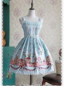 Wathet Decorative Pattern Waist Vest Skirt