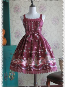 Wine Red Decorative Pattern Waist Vest Skirt
