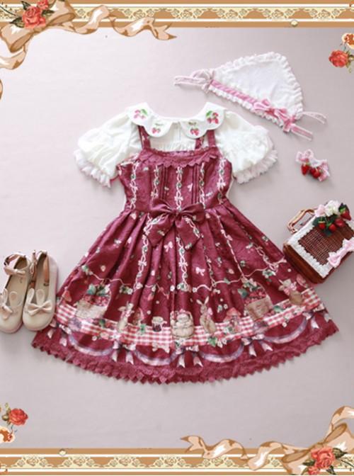 Wine Red Decorative Pattern Waist Vest Skirt