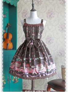 Coffee Color Decorative Pattern Waist Vest Skirt