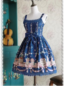 Deep blue Decorative Pattern Waist Vest Skirt