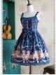 Deep blue Decorative Pattern Waist Vest Skirt