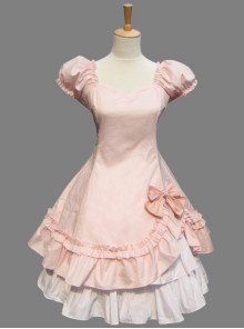 Pink Cotton Princess Hort Sleeve Dress Match The Cake Skirt