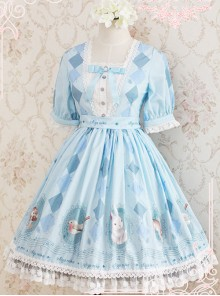 Blue Light Sweet Series Lovely Print Dress