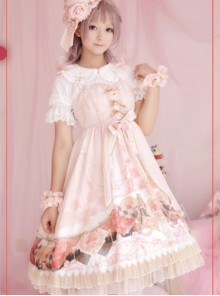 Pink Clock Chess Meeting Notes  Dress Skirt Straps Cross JSK