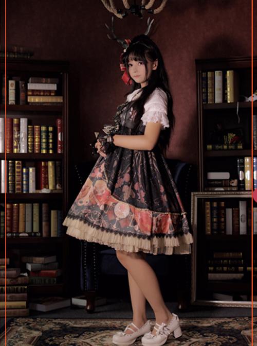 Pink Clock Chess Meeting Notes  Dress Skirt Straps Cross JSK